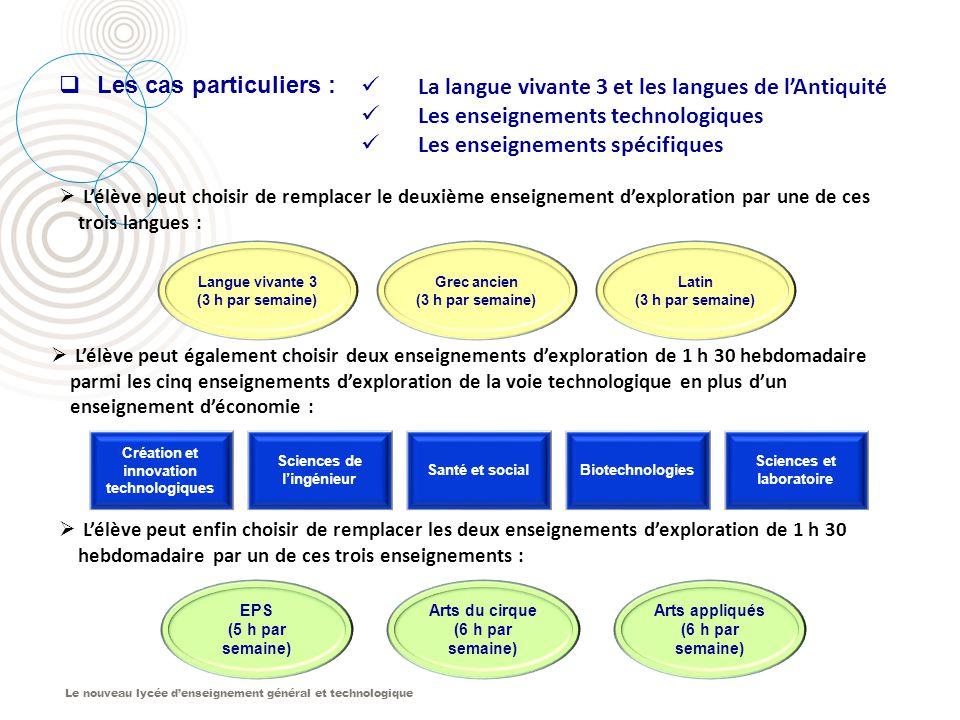 Le nouveau lycée d'enseignement général et technologique Langue vivante 3 (3 h par semaine) Grec ancien (3 h par semaine) Latin (3 h par semaine)  L'