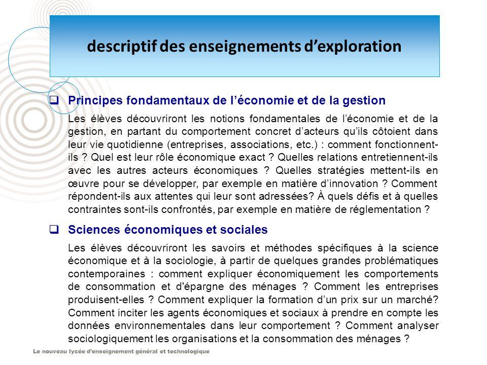 Le nouveau lycée d'enseignement général et technologique descriptif des enseignements d'exploration  Principes fondamentaux de l'économie et de la ge