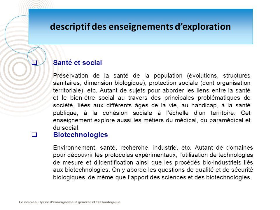 Le nouveau lycée d'enseignement général et technologique  Santé et social Préservation de la santé de la population (évolutions, structures sanitaires, dimension biologique), protection sociale (dont organisation territoriale), etc.