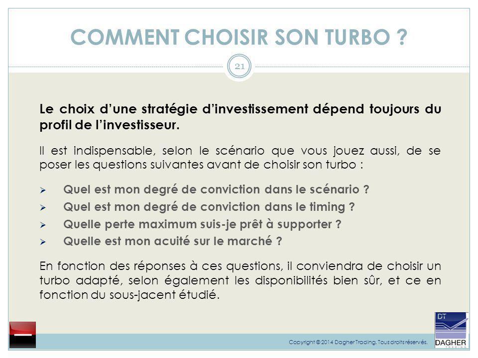 COMMENT CHOISIR SON TURBO ? 21 Le choix d'une stratégie d'investissement dépend toujours du profil de l'investisseur. Il est indispensable, selon le s