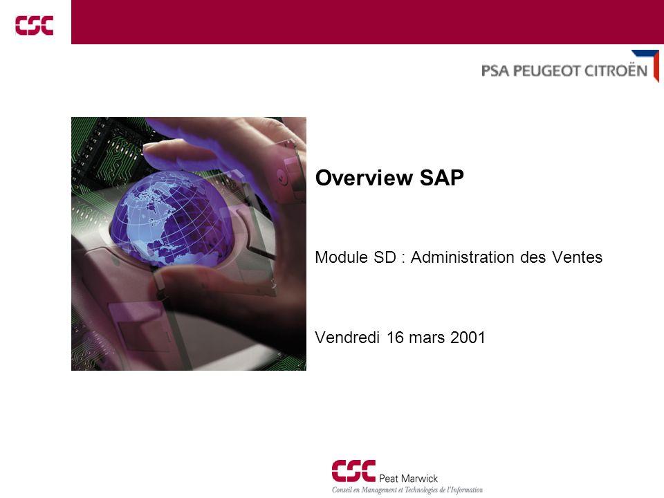 1 Overview SAP Module SD : Administration des Ventes Vendredi 16 mars 2001