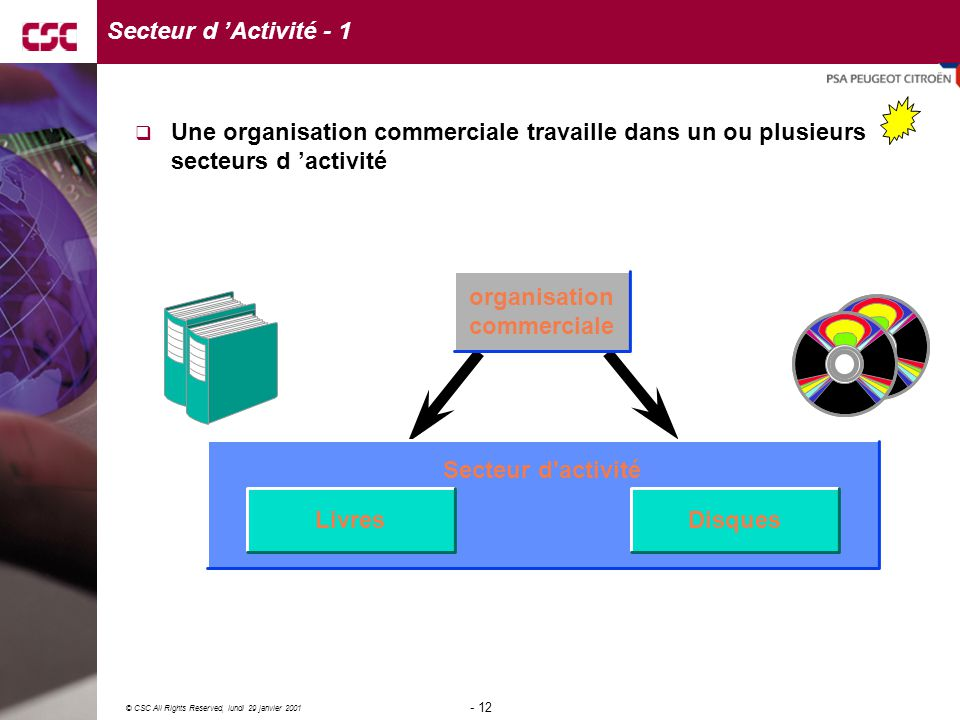 12 © CSC All Rights Reserved, lundi 29 janvier 2001 - 12 - Secteur d'activité LivresDisques organisation commerciale Secteur d 'Activité - 1  Une org