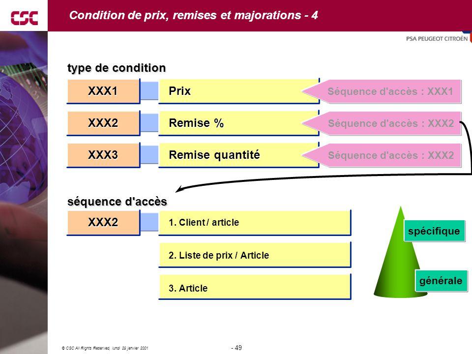 49 © CSC All Rights Reserved, lundi 29 janvier 2001 - 49 - XXX2 Remise % spécifique générale typedecondition type de condition séquenced accès séquence d accès Prix Séquence d accès : XXX1 Séquence d accès : XXX2 1.
