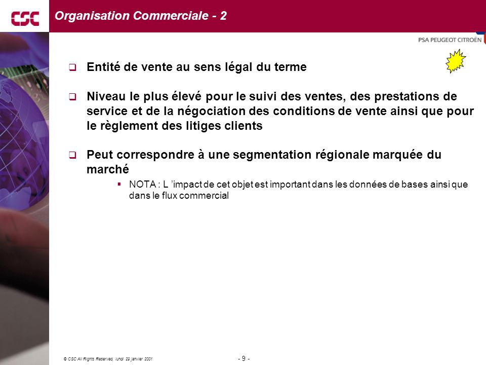 20 © CSC All Rights Reserved, lundi 29 janvier 2001 - 20 - société 2société 1 division 1 division 2 division3 division 4 Contexte Organisationnel - 1  Une division appartient à une seule société  Une division correspond à un site logistique