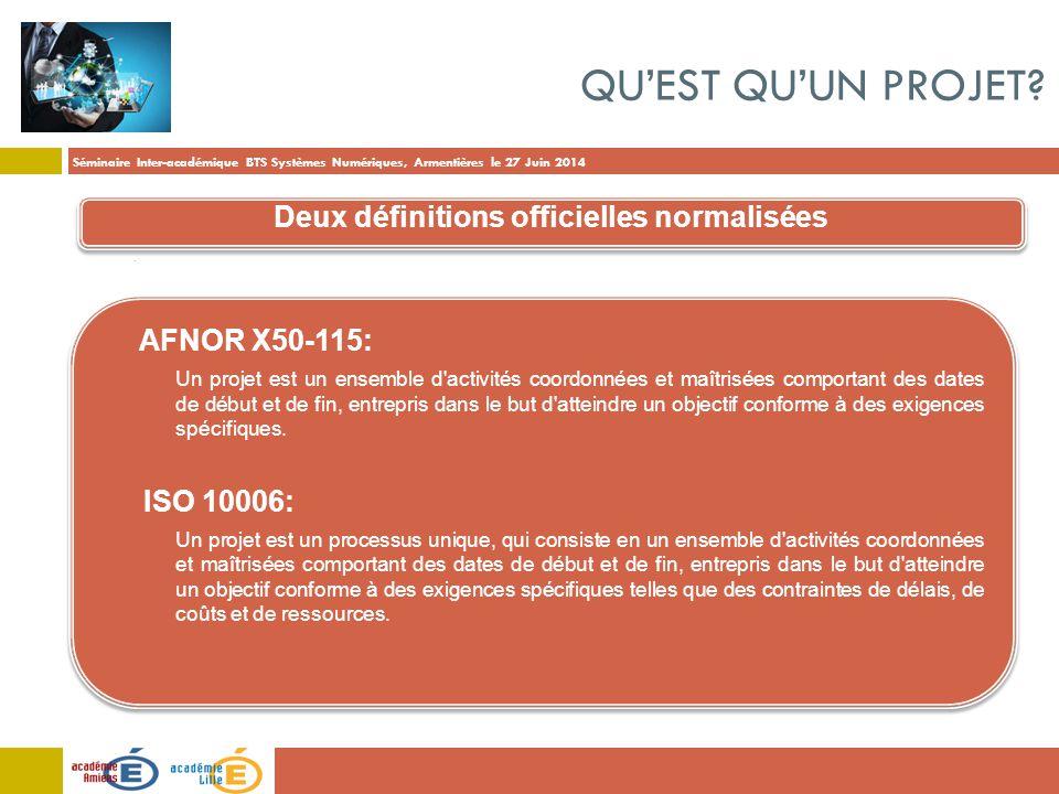 Séminaire Inter-académique BTS Systèmes Numériques, Armentières le 27 Juin 2014 QU'EST QU'UN PROJET? AFNOR X50-115: - Un projet est un ensemble d'acti
