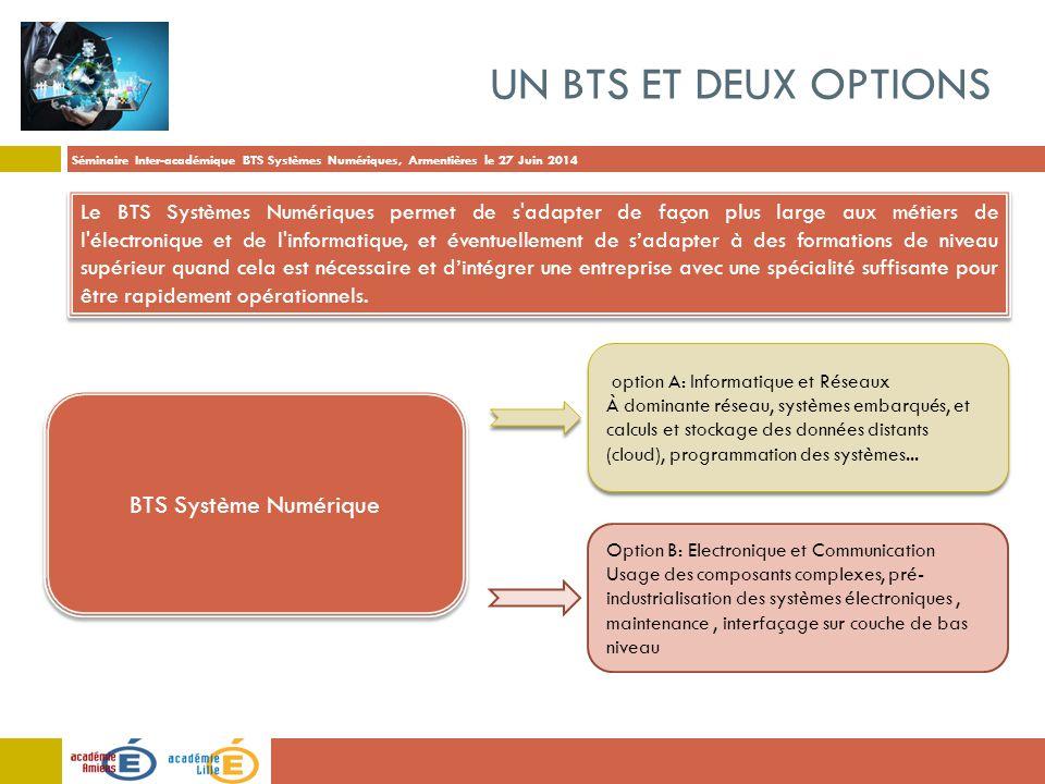 Séminaire Inter-académique BTS Systèmes Numériques, Armentières le 27 Juin 2014 UN BTS ET DEUX OPTIONS Le BTS Systèmes Numériques permet de s'adapter