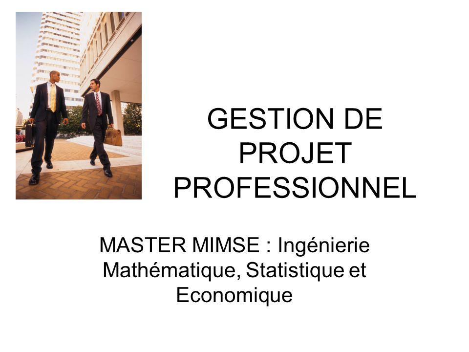 GESTION DE PROJET PROFESSIONNEL MASTER MIMSE : Ingénierie Mathématique, Statistique et Economique
