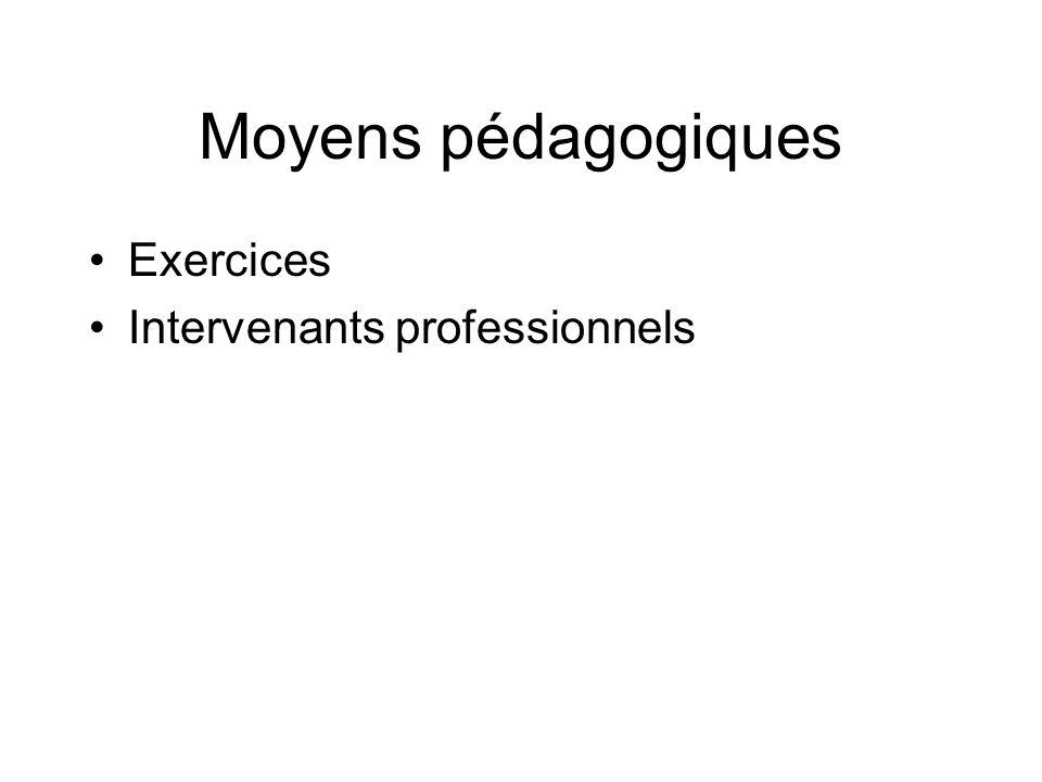 Moyens pédagogiques Exercices Intervenants professionnels