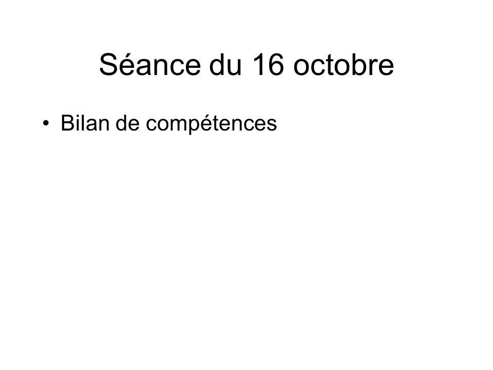 Séance du 16 octobre Bilan de compétences