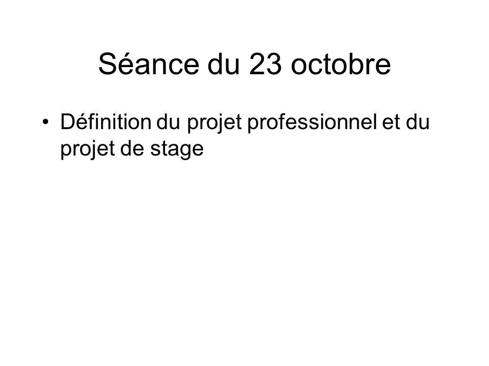 Séance du 23 octobre Définition du projet professionnel et du projet de stage