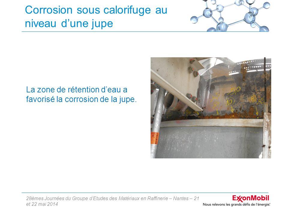 28èmes Journées du Groupe d'Etudes des Matériaux en Raffinerie – Nantes – 21 et 22 mai 2014 Corrosion sous calorifuge au niveau d'une jupe La zone de rétention d'eau a favorisé la corrosion de la jupe.