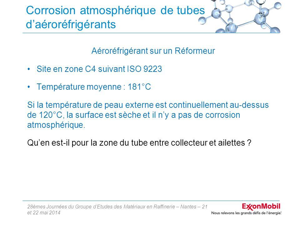 28èmes Journées du Groupe d'Etudes des Matériaux en Raffinerie – Nantes – 21 et 22 mai 2014 Corrosion atmosphérique de tubes d'aéroréfrigérants Aéroréfrigérant sur un Réformeur Site en zone C4 suivant ISO 9223 Température moyenne : 181°C Si la température de peau externe est continuellement au-dessus de 120°C, la surface est sèche et il n'y a pas de corrosion atmosphérique.