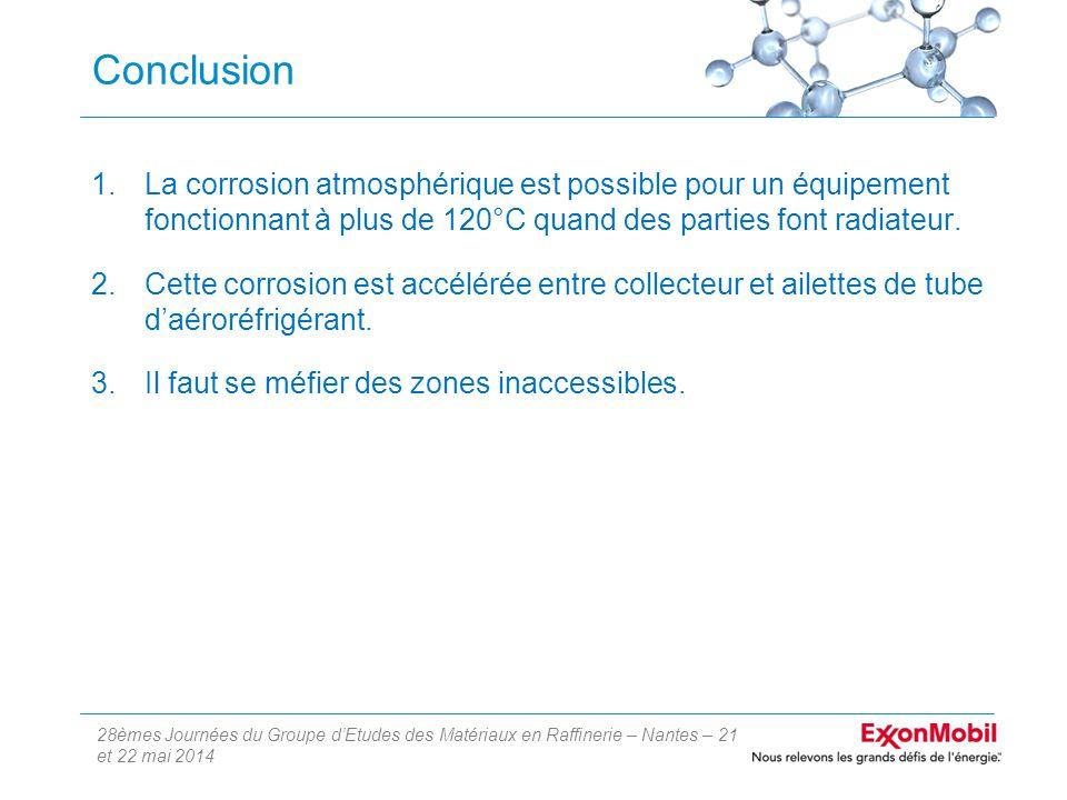 28èmes Journées du Groupe d'Etudes des Matériaux en Raffinerie – Nantes – 21 et 22 mai 2014 Conclusion 1.La corrosion atmosphérique est possible pour un équipement fonctionnant à plus de 120°C quand des parties font radiateur.