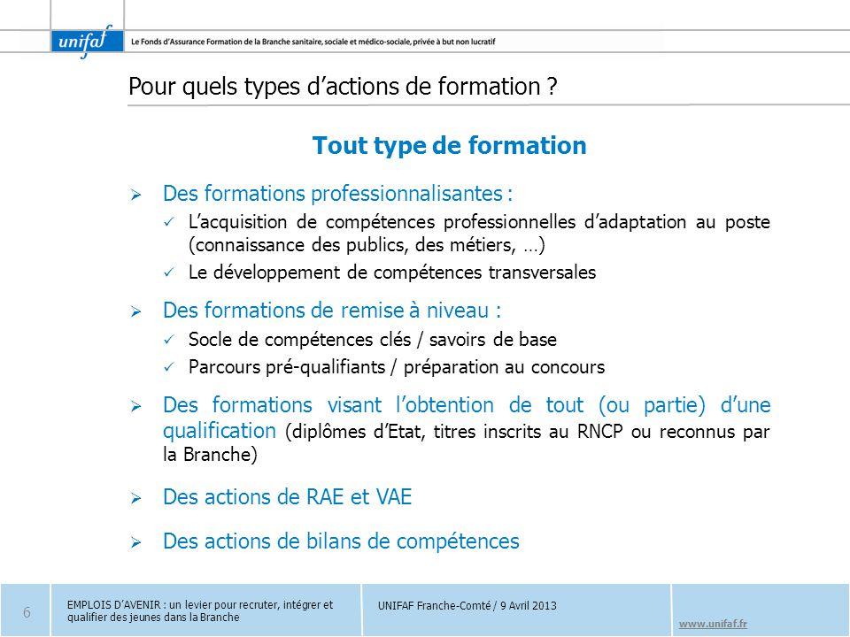 www.unifaf.fr Pour quels types d'actions de formation ? Tout type de formation  Des formations professionnalisantes : L'acquisition de compétences pr