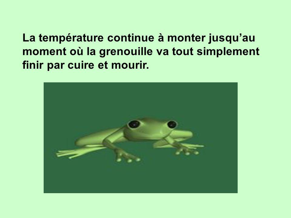 Cette fois, l'eau est vraiment chaude. La grenouille commence à trouver cela désagréable, mais elle s'est affaiblie. Alors elle supporte patiemment et