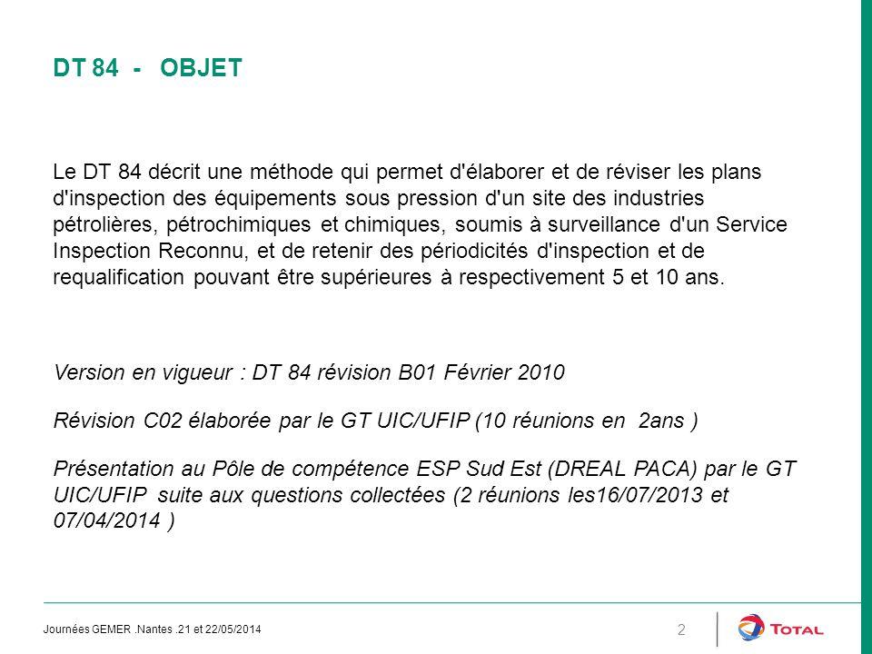 DT 84 - OBJET Le DT 84 décrit une méthode qui permet d'élaborer et de réviser les plans d'inspection des équipements sous pression d'un site des indus