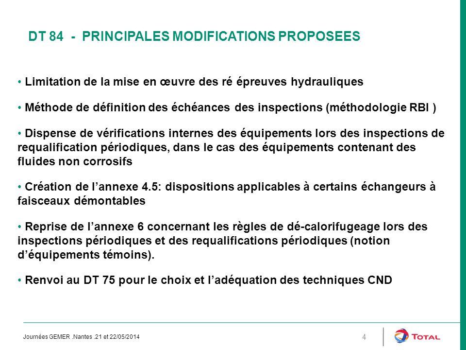 DT 84 - PRINCIPALES MODIFICATIONS PROPOSEES Limitation de la mise en œuvre des ré épreuves hydrauliques Méthode de définition des échéances des inspec