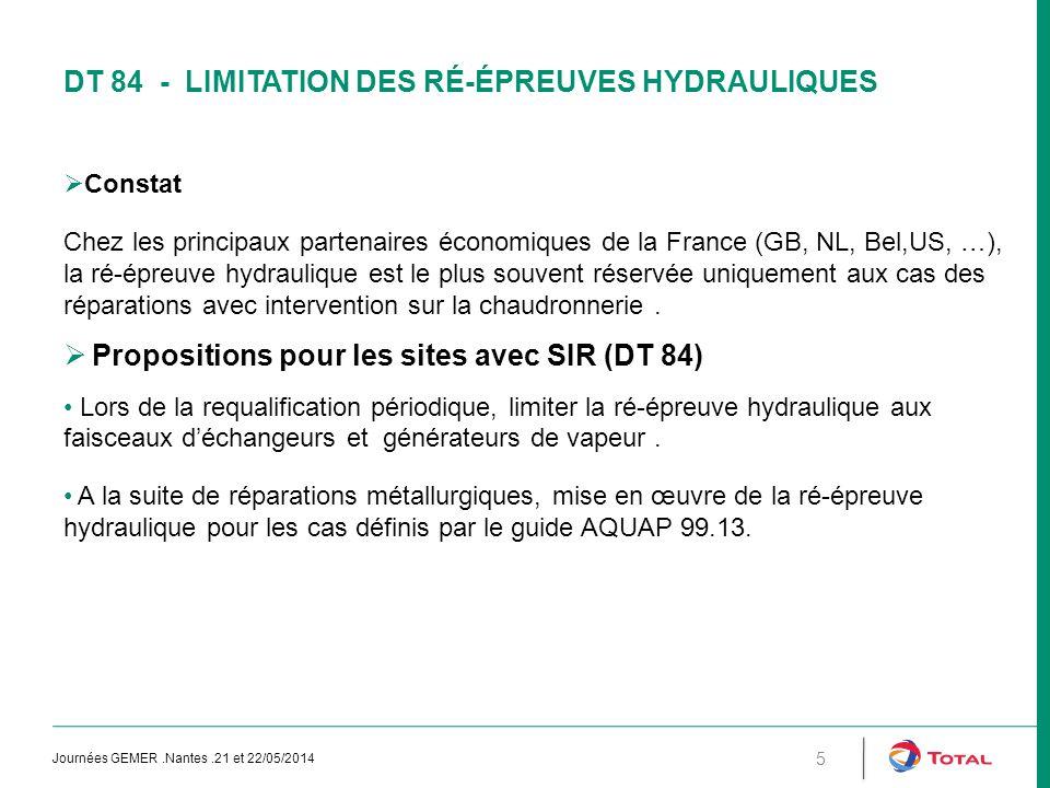 DT 84 - LIMITATION DES RÉ-ÉPREUVES HYDRAULIQUES  Constat Chez les principaux partenaires économiques de la France (GB, NL, Bel,US, …), la ré-épreuve hydraulique est le plus souvent réservée uniquement aux cas des réparations avec intervention sur la chaudronnerie.
