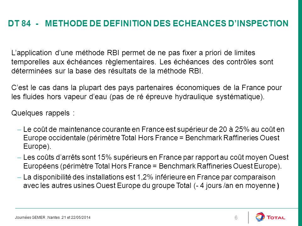 DT 84 - METHODE DE DEFINITION DES ECHEANCES D'INSPECTION L'application d'une méthode RBI permet de ne pas fixer a priori de limites temporelles aux éc