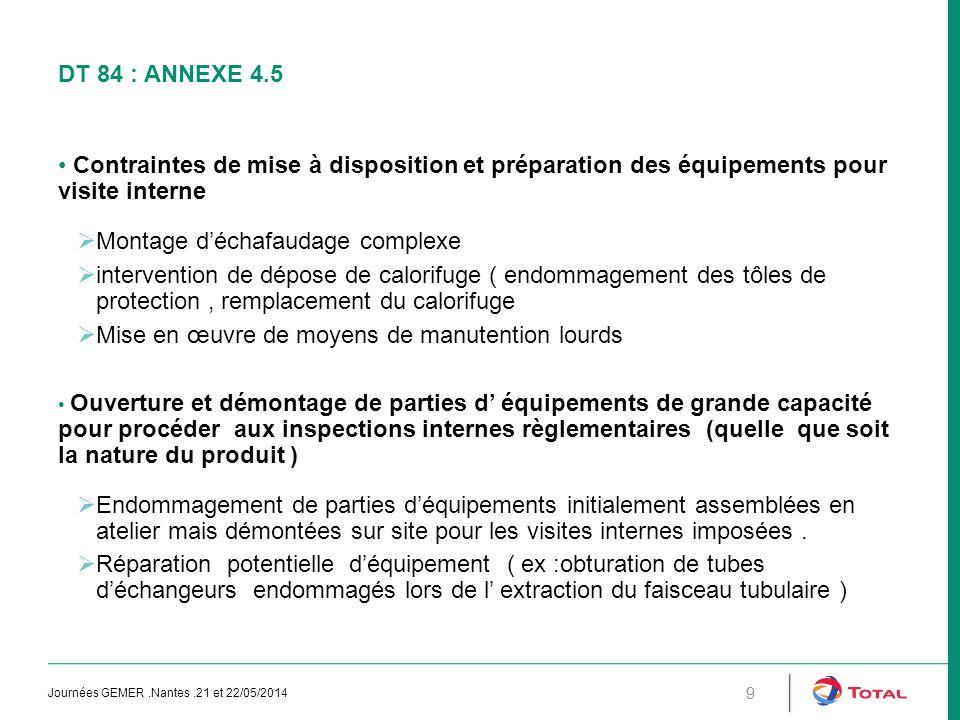 DT 84 : ANNEXE 4.5 Contraintes de mise à disposition et préparation des équipements pour visite interne  Montage d'échafaudage complexe  interventio