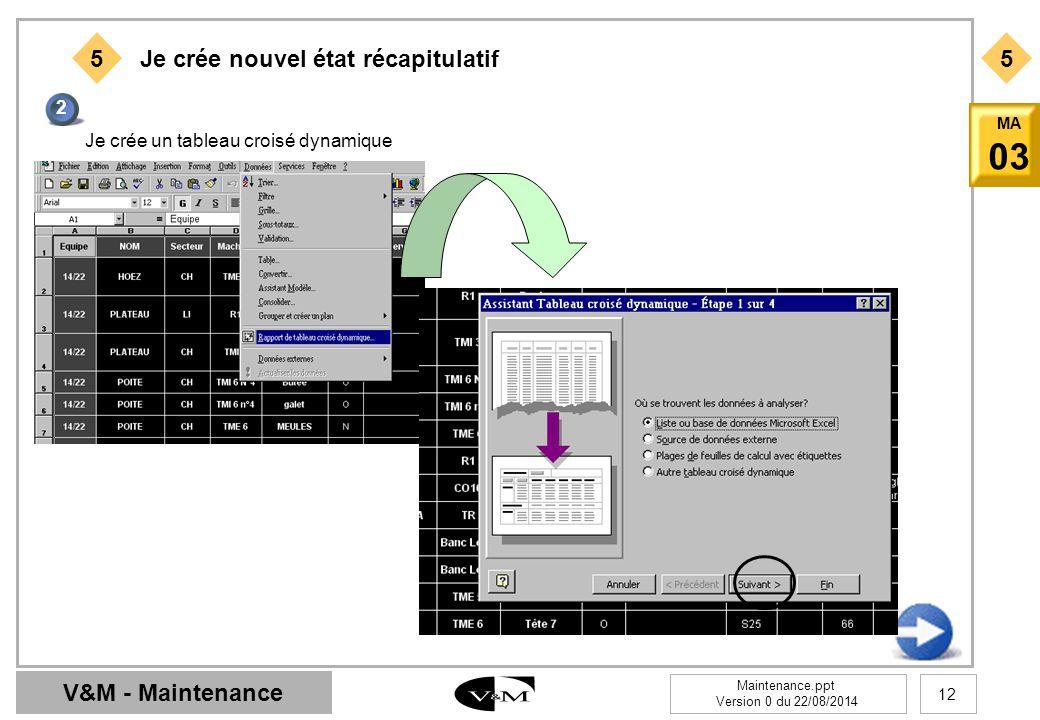 V&M - Maintenance Maintenance.ppt Version 0 du 22/08/2014 12 MA 03 55 Je crée nouvel état récapitulatif 2 Je crée un tableau croisé dynamique