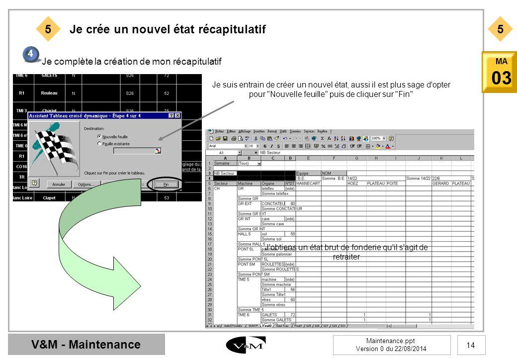 V&M - Maintenance Maintenance.ppt Version 0 du 22/08/2014 14 MA 03 55 Je crée un nouvel état récapitulatif 4 Je complète la création de mon récapitula