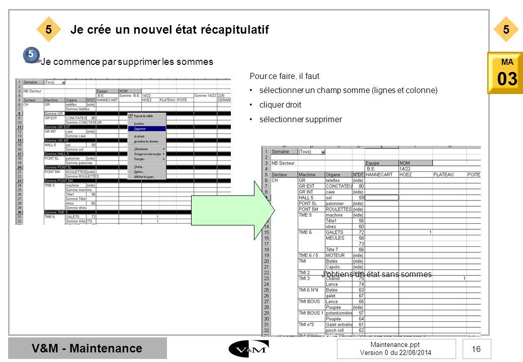V&M - Maintenance Maintenance.ppt Version 0 du 22/08/2014 16 MA 03 55 Je crée un nouvel état récapitulatif 5 Je commence par supprimer les sommes Pour