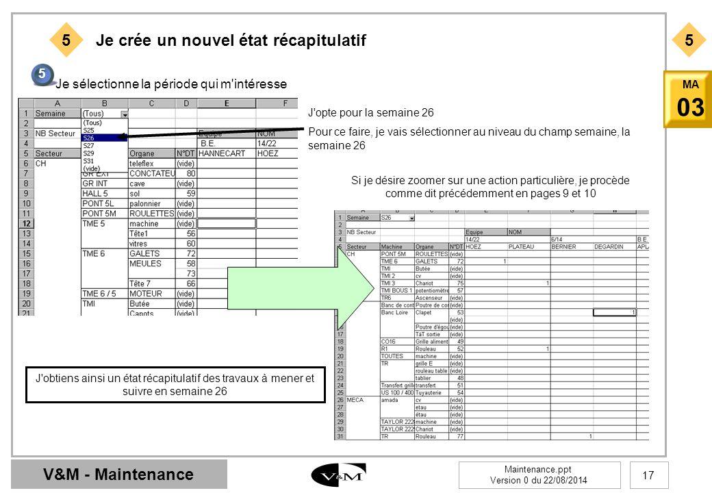 V&M - Maintenance Maintenance.ppt Version 0 du 22/08/2014 17 MA 03 55 Je crée un nouvel état récapitulatif 5 Je sélectionne la période qui m'intéresse