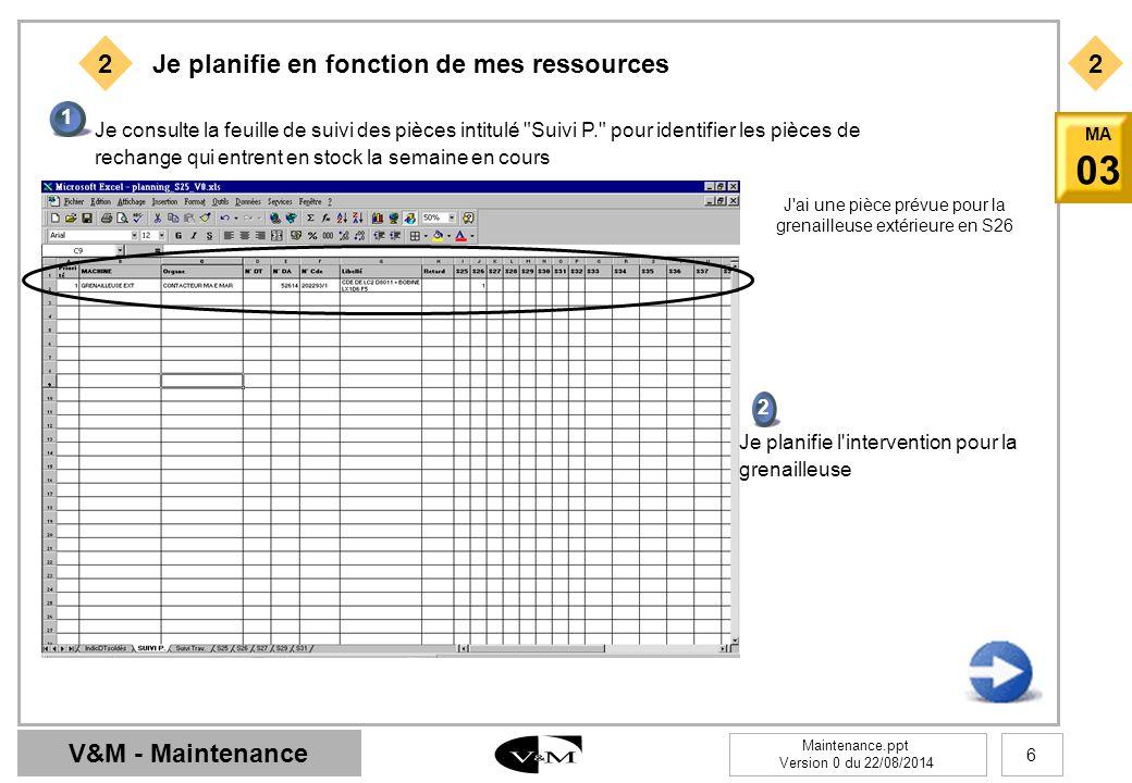 V&M - Maintenance Maintenance.ppt Version 0 du 22/08/2014 6 MA 03 2 1 Je consulte la feuille de suivi des pièces intitulé