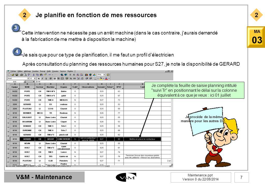 V&M - Maintenance Maintenance.ppt Version 0 du 22/08/2014 8 MA 03 3 1 Au fil de ma planification, je complète les D.T.