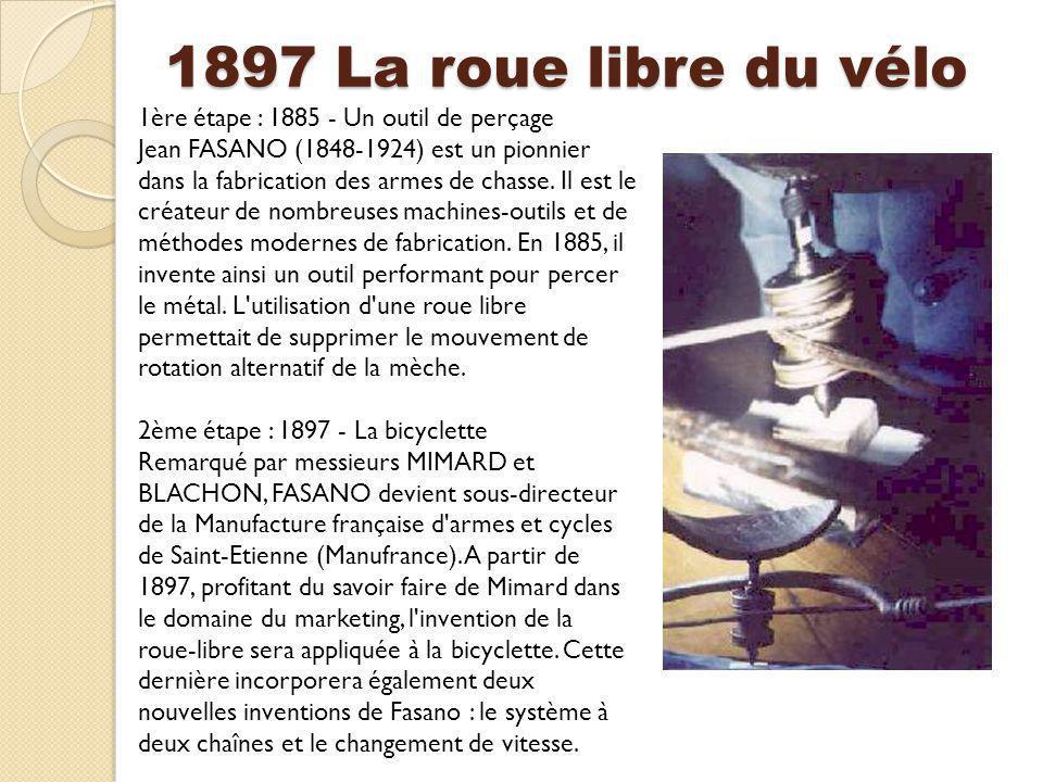 1897 La roue libre du vélo 1ère étape : 1885 - Un outil de perçage Jean FASANO (1848-1924) est un pionnier dans la fabrication des armes de chasse. Il