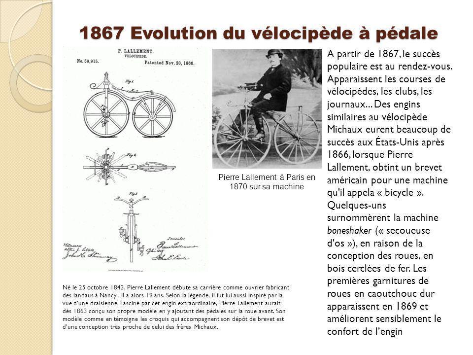 1869 Le vélocipède à deux roues Thomas McCall (1834–1904) écossais, né à Penpont, il est venu à Kilmarnock à 20 ans, où il vécut jusqu à sa mort.