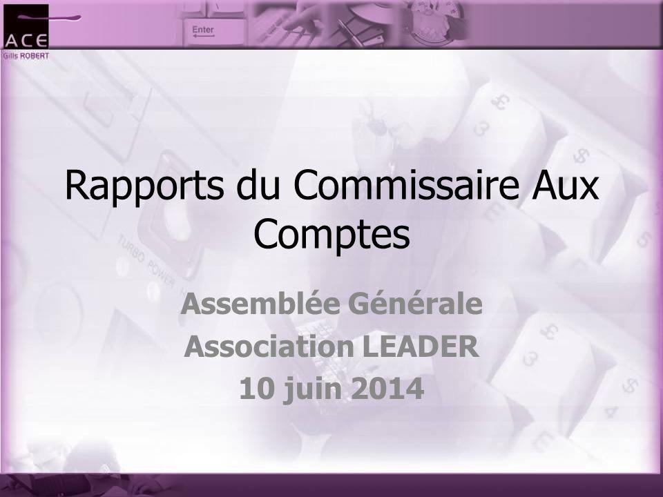 Rapports du Commissaire Aux Comptes Assemblée Générale Association LEADER 10 juin 2014