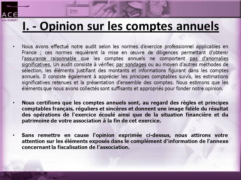 I. - Opinion sur les comptes annuels Nous avons effectué notre audit selon les normes d'exercice professionnel applicables en France ; ces normes requ