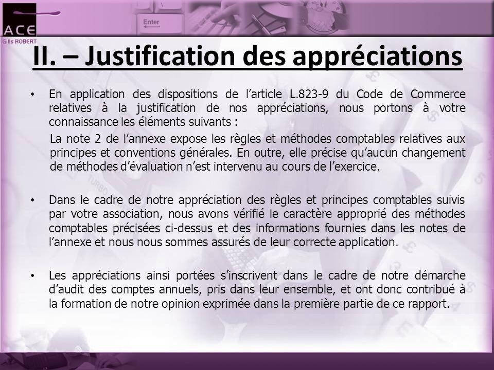 II. – Justification des appréciations En application des dispositions de l'article L.823-9 du Code de Commerce relatives à la justification de nos app
