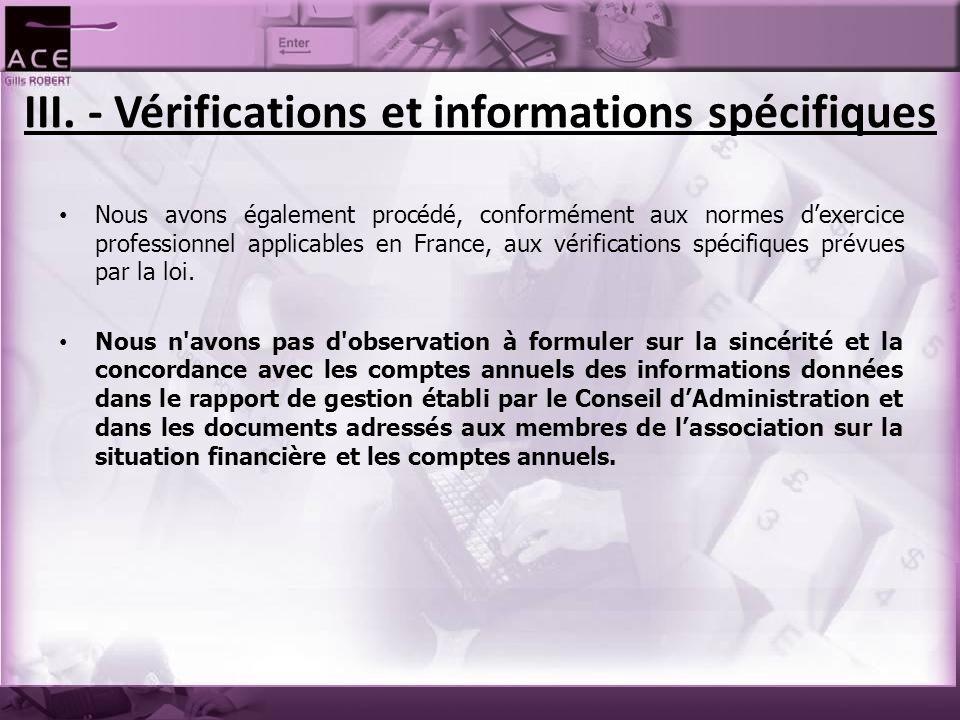 III. - Vérifications et informations spécifiques Nous avons également procédé, conformément aux normes d'exercice professionnel applicables en France,