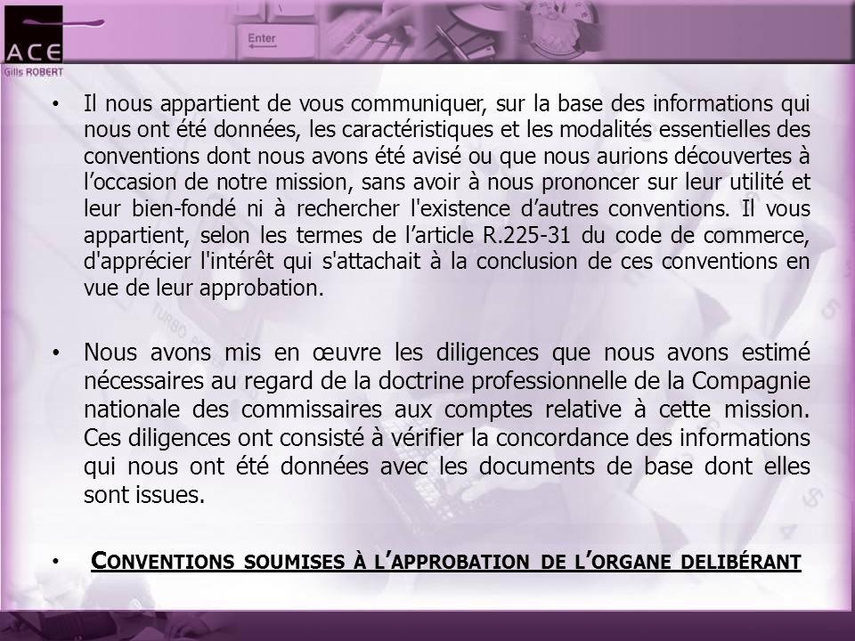 I) Conventions autorisées au cours de l'exercice écoulé : En application de l article R.
