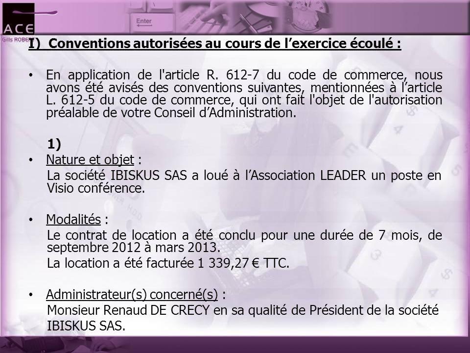 I) Conventions autorisées au cours de l'exercice écoulé : En application de l'article R. 612-7 du code de commerce, nous avons été avisés des conventi