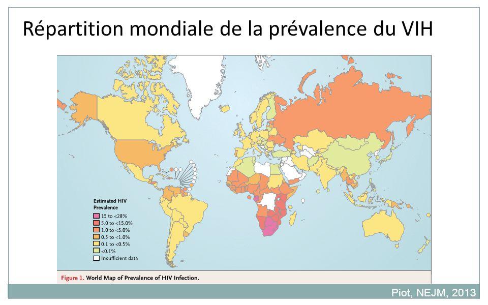 Répartition mondiale de la prévalence du VIH Piot, NEJM, 2013