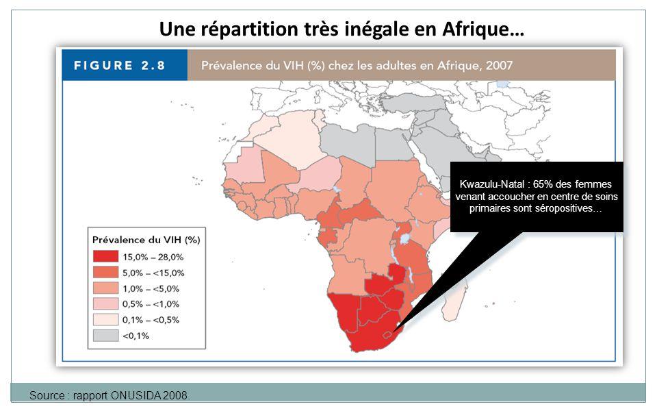 Une répartition très inégale en Afrique… Source : rapport ONUSIDA 2008. Kwazulu-Natal : 65% des femmes venant accoucher en centre de soins primaires s