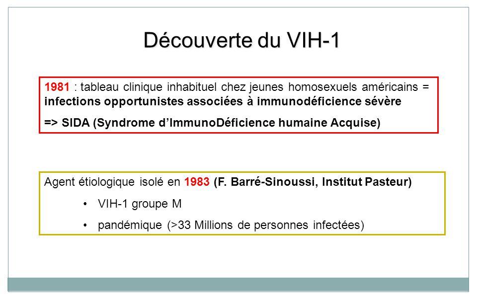Découverte du VIH-1 Agent étiologique isolé en 1983 (F. Barré-Sinoussi, Institut Pasteur) VIH-1 groupe M pandémique (>33 Millions de personnes infecté