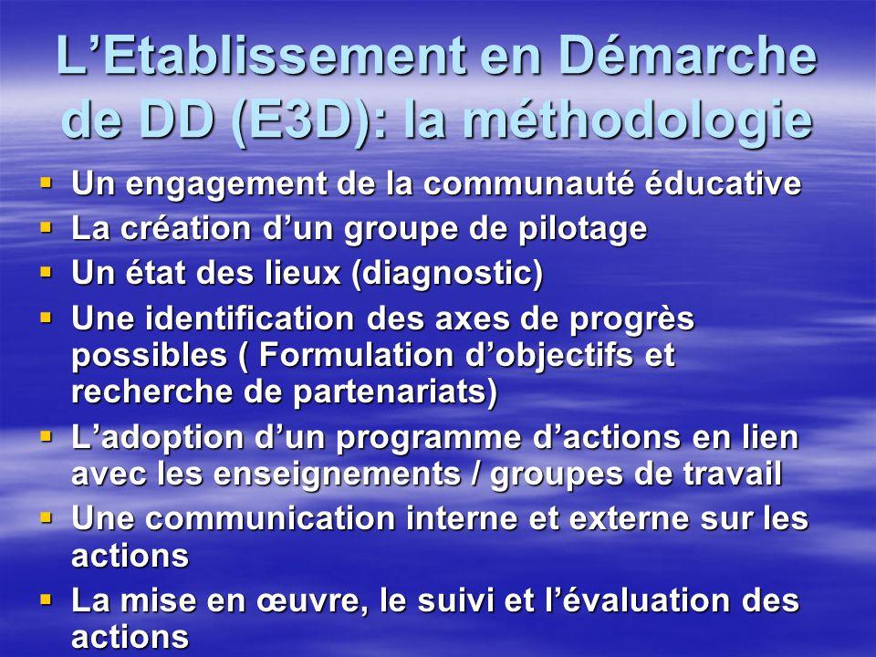 L'Etablissement en Démarche de DD (E3D): la méthodologie  Un engagement de la communauté éducative  La création d'un groupe de pilotage  Un état de