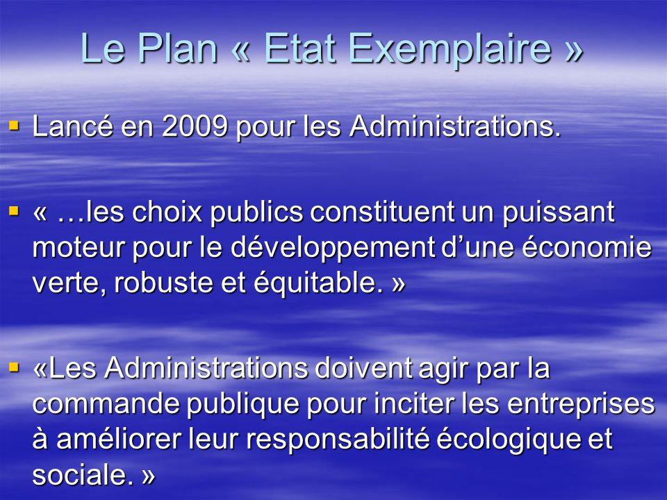 Le Plan « Etat Exemplaire »  Lancé en 2009 pour les Administrations.  « …les choix publics constituent un puissant moteur pour le développement d'un