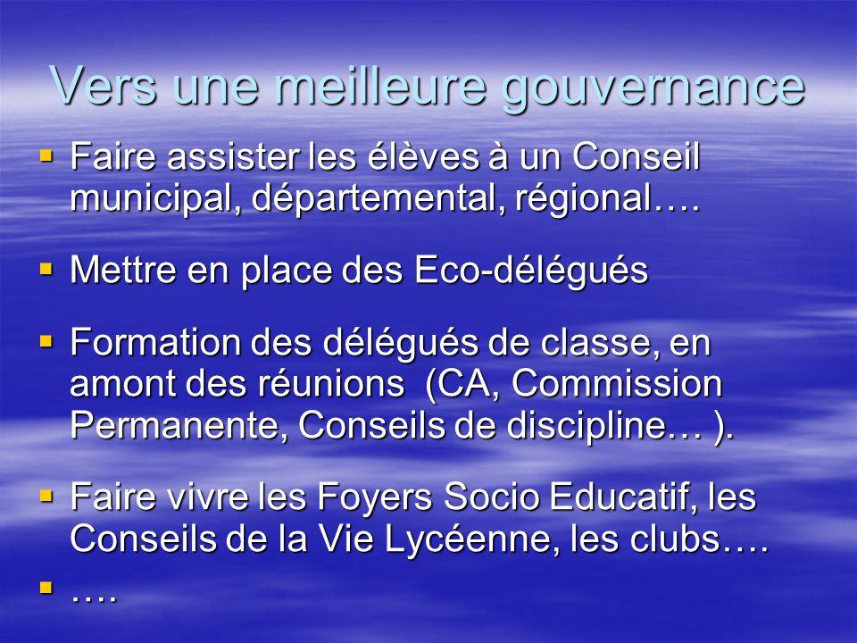 Vers une meilleure gouvernance  Faire assister les élèves à un Conseil municipal, départemental, régional….  Mettre en place des Eco-délégués  Form