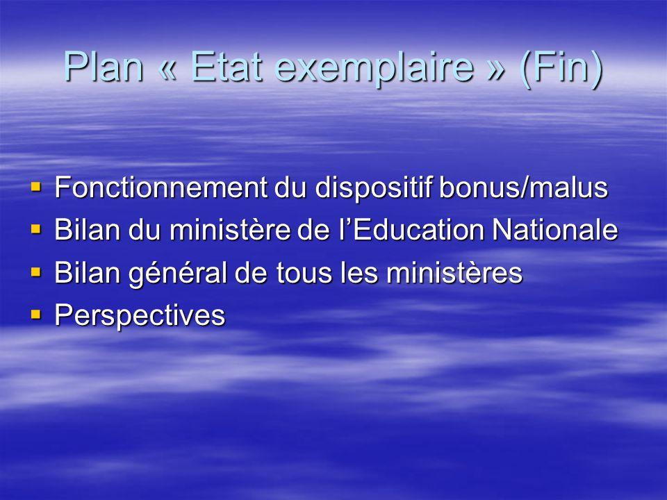 Plan « Etat exemplaire » (Fin)  Fonctionnement du dispositif bonus/malus  Bilan du ministère de l'Education Nationale  Bilan général de tous les mi