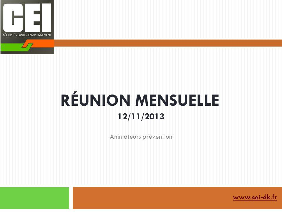 RÉUNION MENSUELLE 12/11/2013 www.cei-dk.fr Animateurs prévention