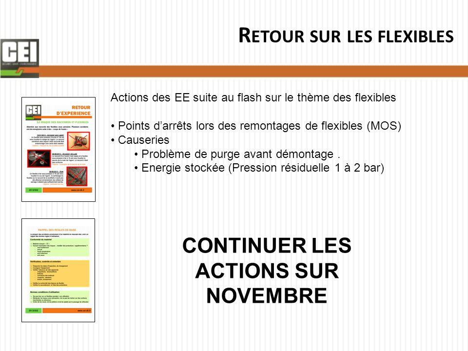 R ETOUR SUR LES FLEXIBLES Actions des EE suite au flash sur le thème des flexibles Points d'arrêts lors des remontages de flexibles (MOS) Causeries Pr