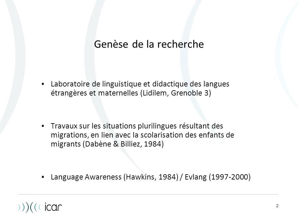 2 Genèse de la recherche Laboratoire de linguistique et didactique des langues étrangères et maternelles (Lidilem, Grenoble 3) Travaux sur les situati
