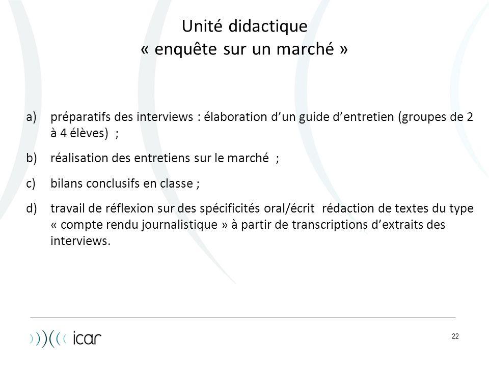 22 Unité didactique « enquête sur un marché » a)préparatifs des interviews : élaboration d'un guide d'entretien (groupes de 2 à 4 élèves) ; b)réalisat