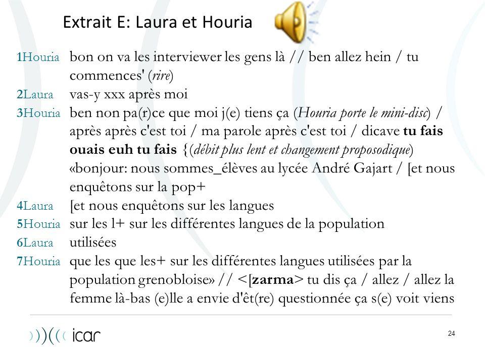 24 Extrait E: Laura et Houria 1Houria bon on va les interviewer les gens là // ben allez hein / tu commences' (rire) 2Laura vas-y xxx après moi 3Houri